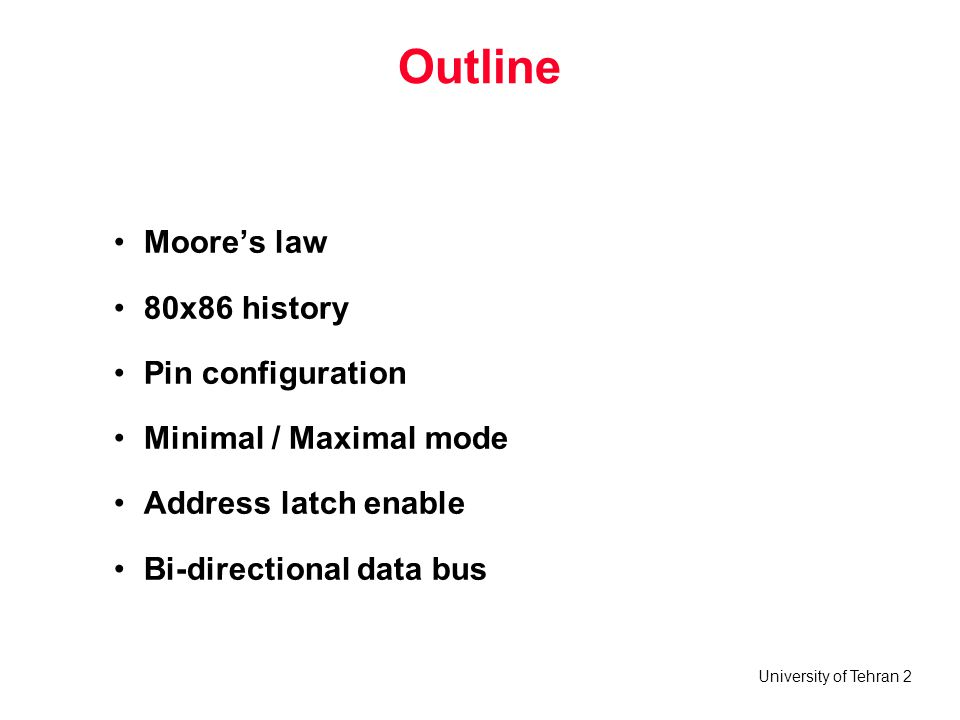 Outline Moore's law 80x86 history Pin configuration