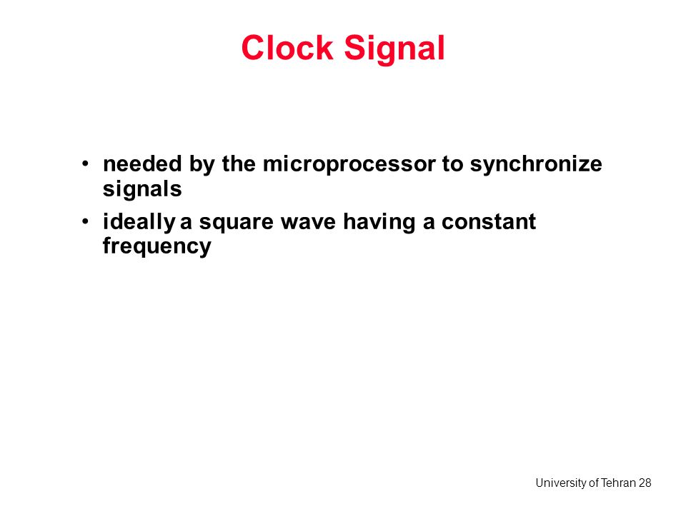 Clock Signal needed by the microprocessor to synchronize signals