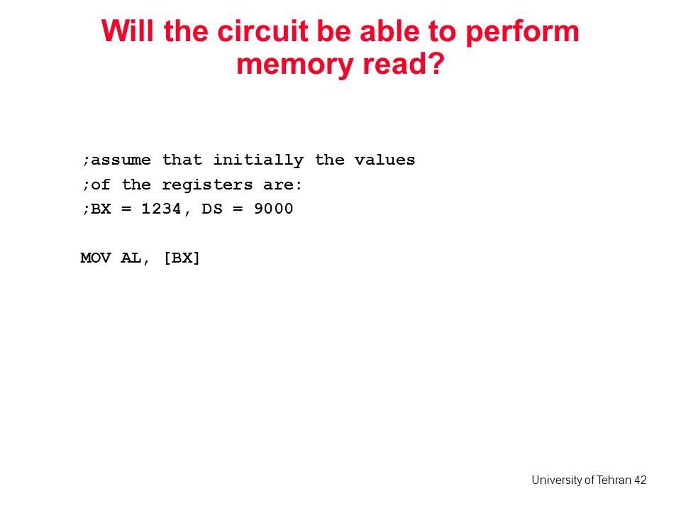 Will the circuit be able to perform memory read