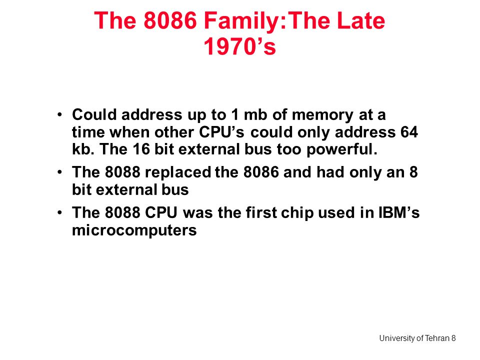 The 8086 Family:The Late 1970's