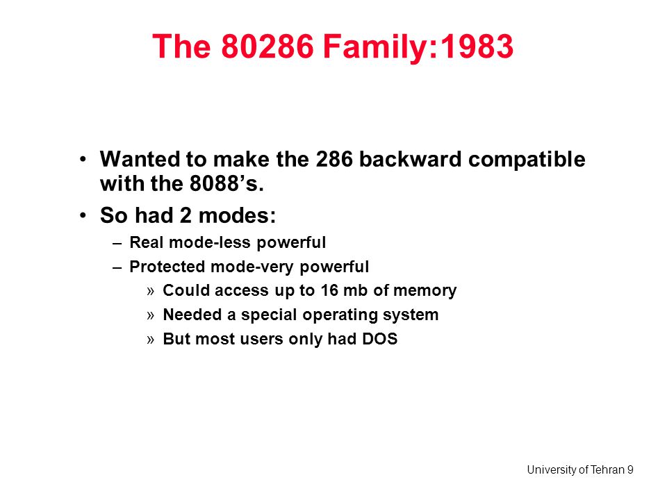 The 80286 Family:1983 Wanted to make the 286 backward compatible with the 8088's. So had 2 modes: Real mode-less powerful.