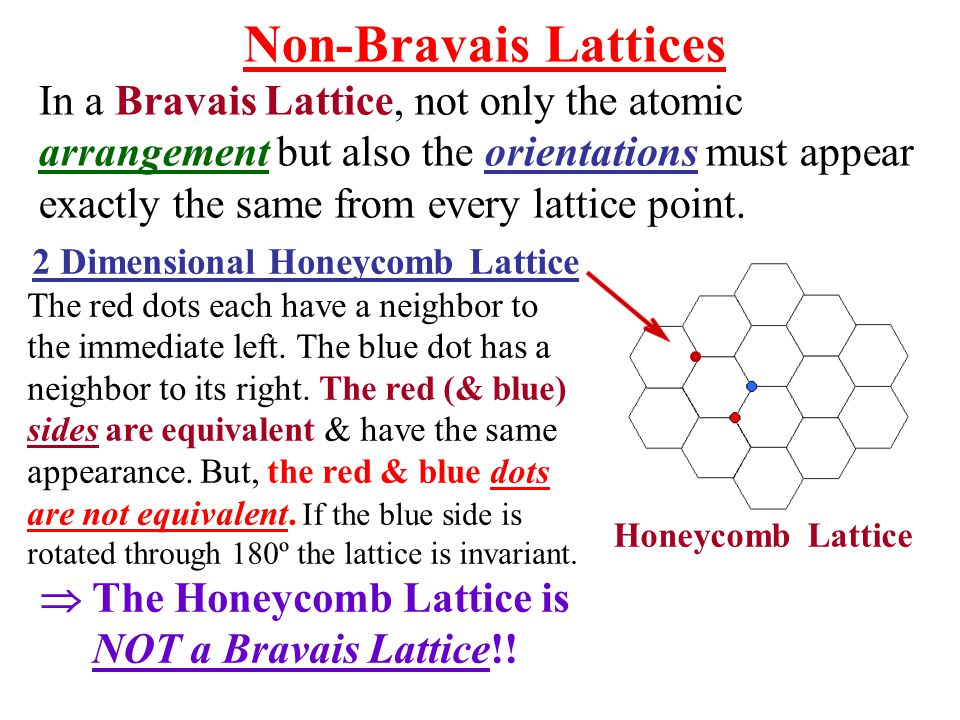Non-Bravais Lattices In a Bravais Lattice, not only the atomic