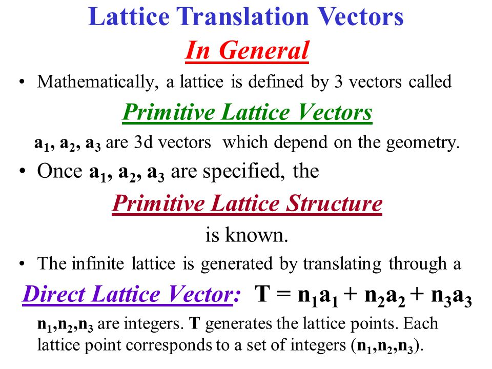 Lattice Translation Vectors