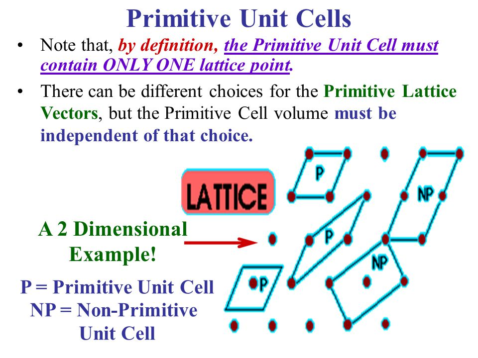 Primitive Unit Cells A 2 Dimensional Example! P = Primitive Unit Cell