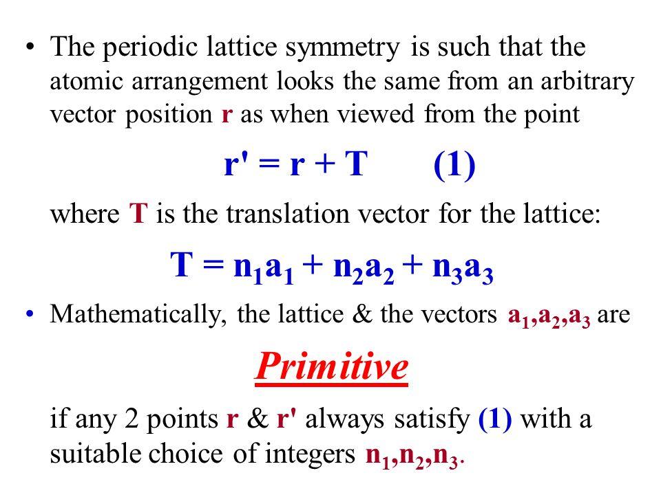 Primitive r = r + T (1) T = n1a1 + n2a2 + n3a3