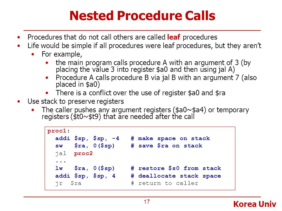 Nested Procedure Calls