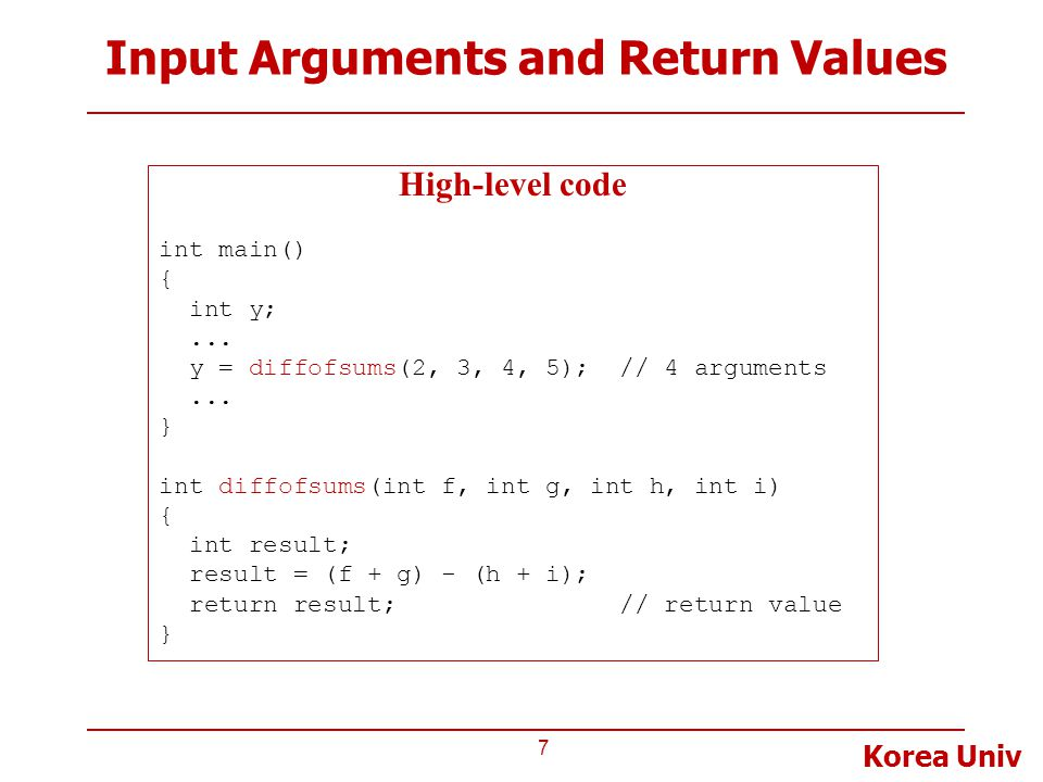 Input Arguments and Return Values