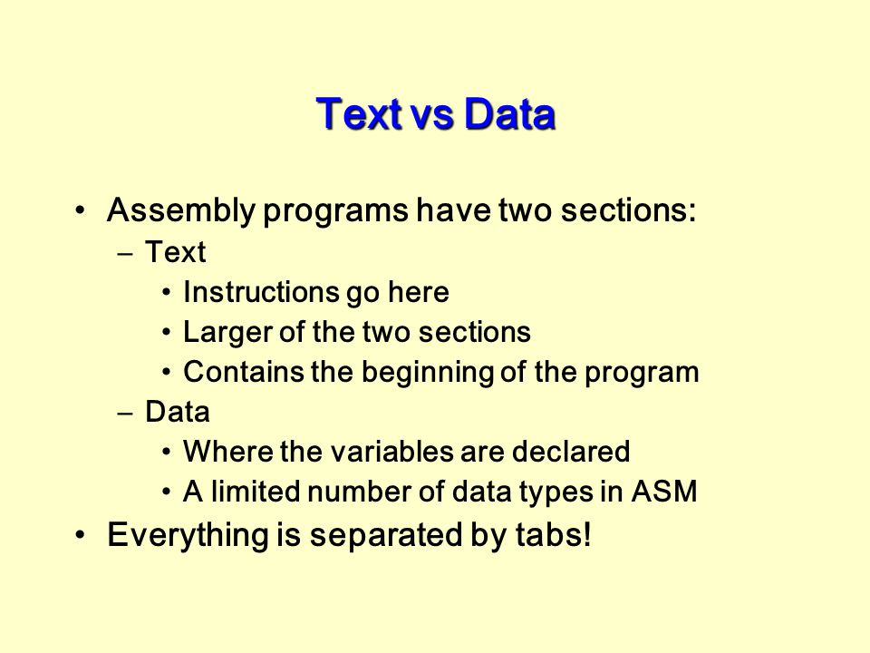 Text vs Data Assembly programs have two sections:
