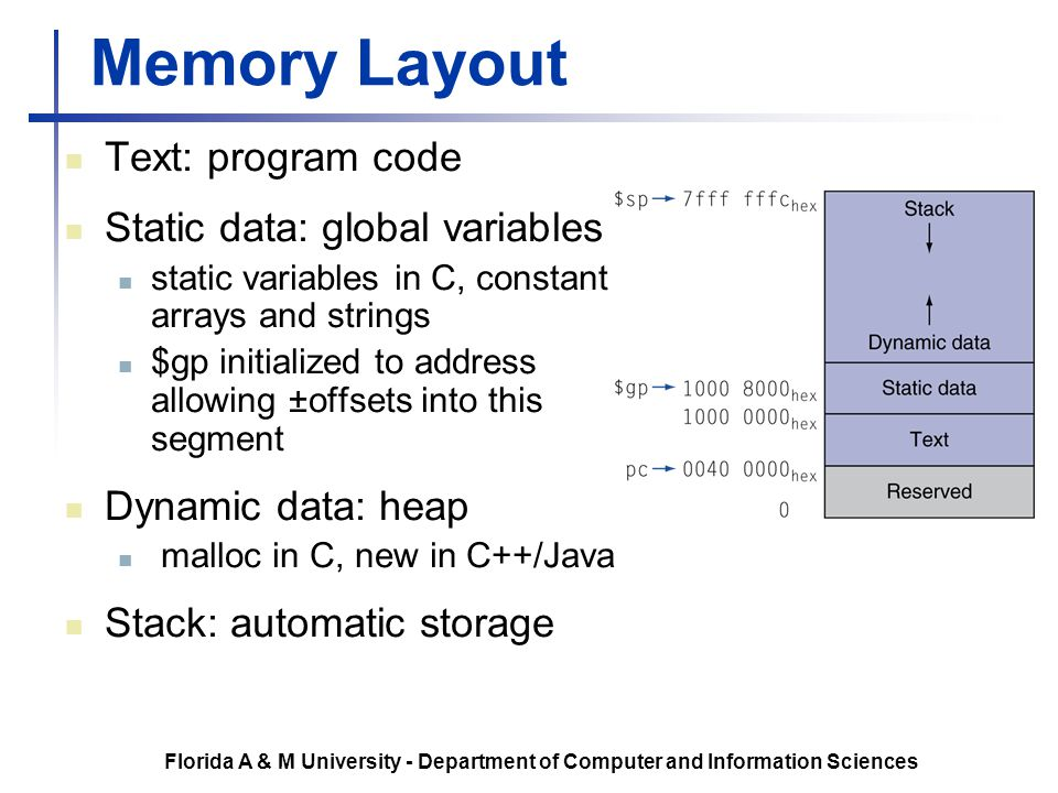 Memory Layout Text: program code Static data: global variables