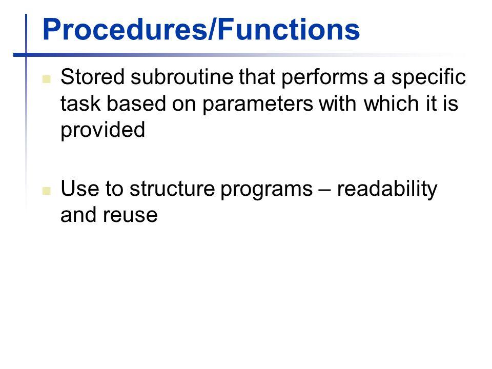 Procedures/Functions