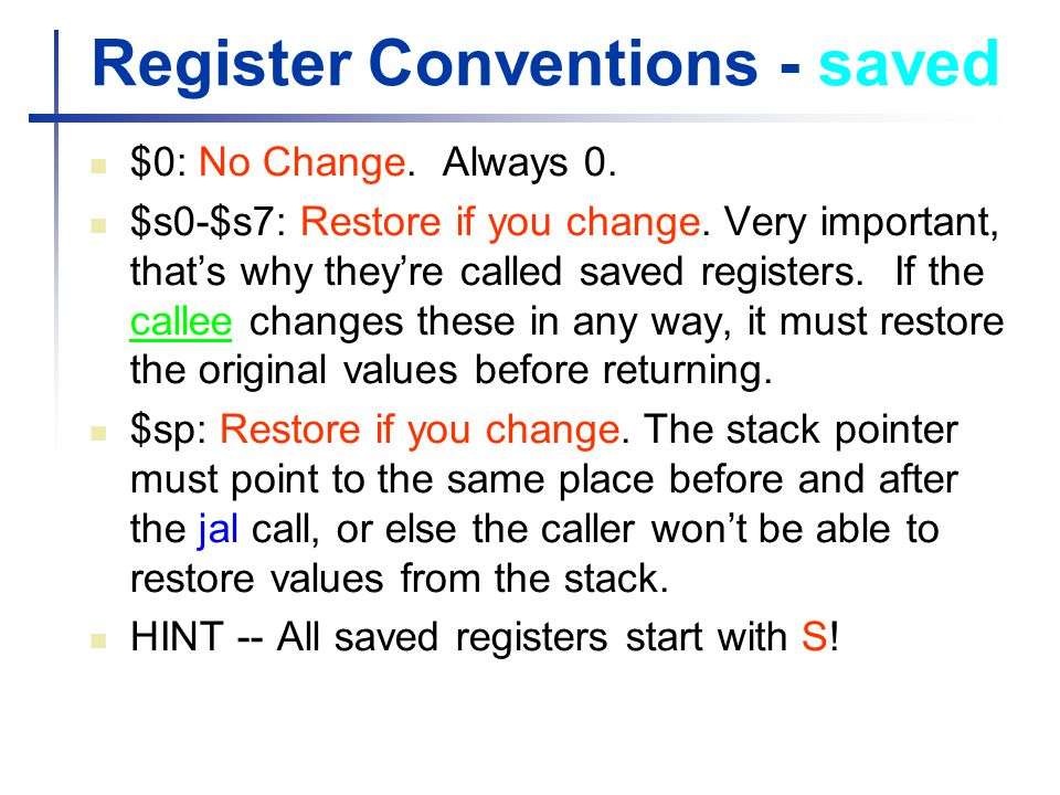 Register Conventions - saved