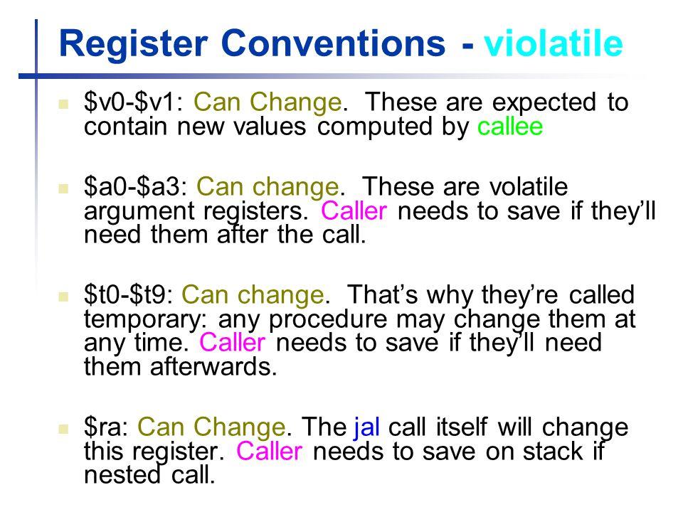 Register Conventions - violatile