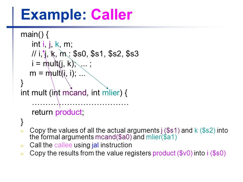 Example: Caller main() { int i, j, k, m;