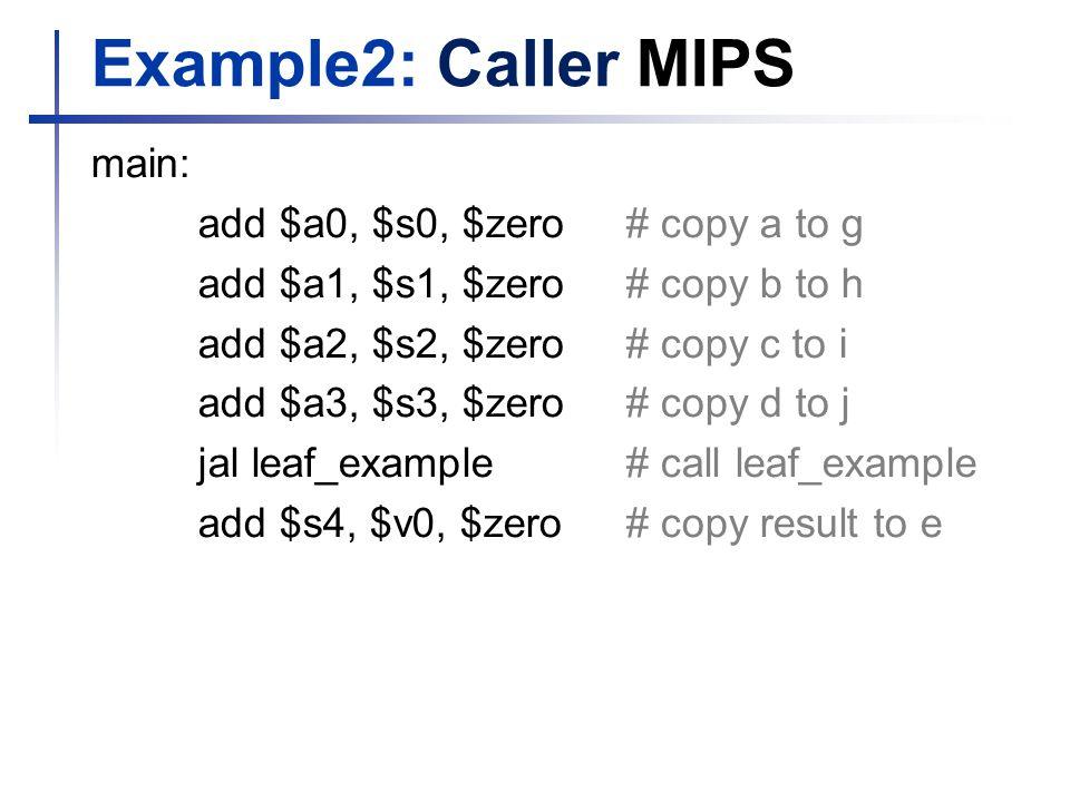 Example2: Caller MIPS main: add $a0, $s0, $zero # copy a to g