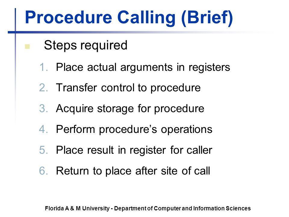 Procedure Calling (Brief)