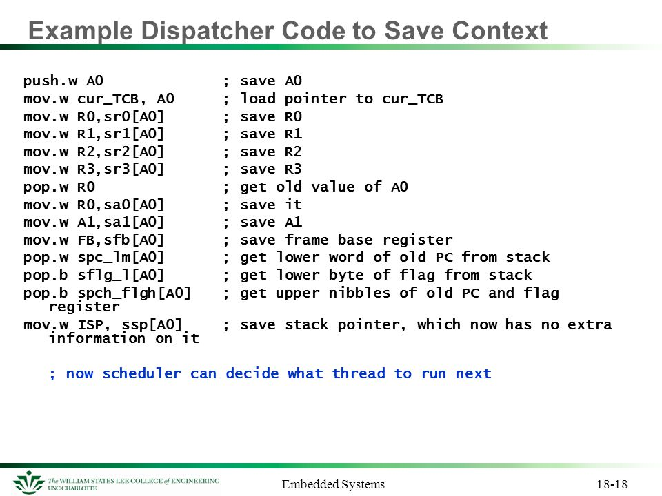 Example Dispatcher Code to Save Context