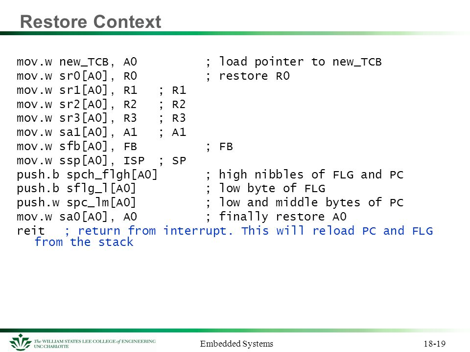 Restore Context mov.w new_TCB, A0 ; load pointer to new_TCB