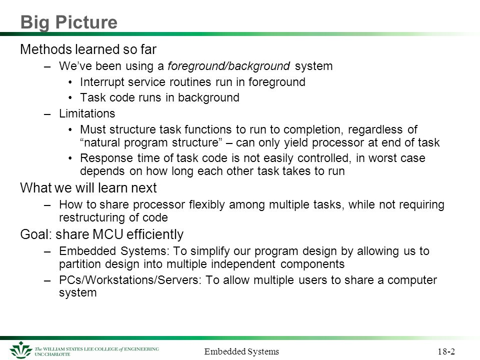 Big Picture Methods learned so far What we will learn next