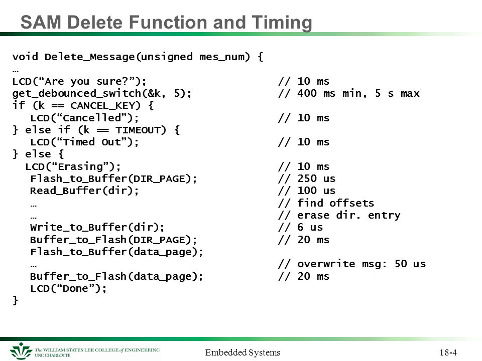 SAM Delete Function and Timing