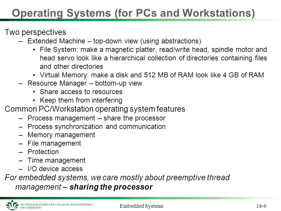 Operating Systems (for PCs and Workstations)