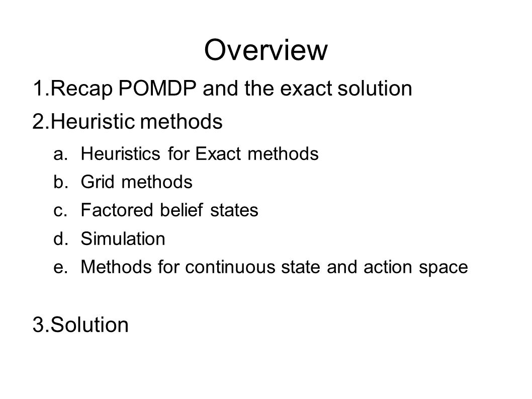 Overview Recap POMDP and the exact solution Heuristic methods Solution