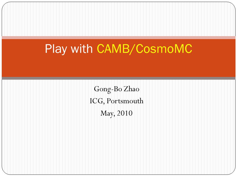Play with CAMB/CosmoMC