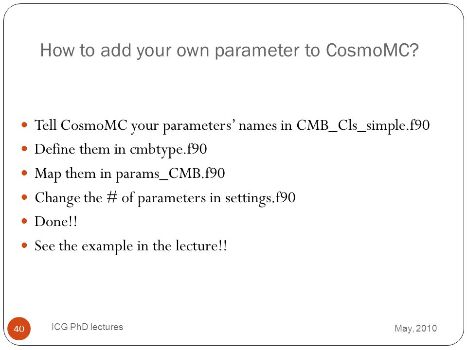 How to add your own parameter to CosmoMC