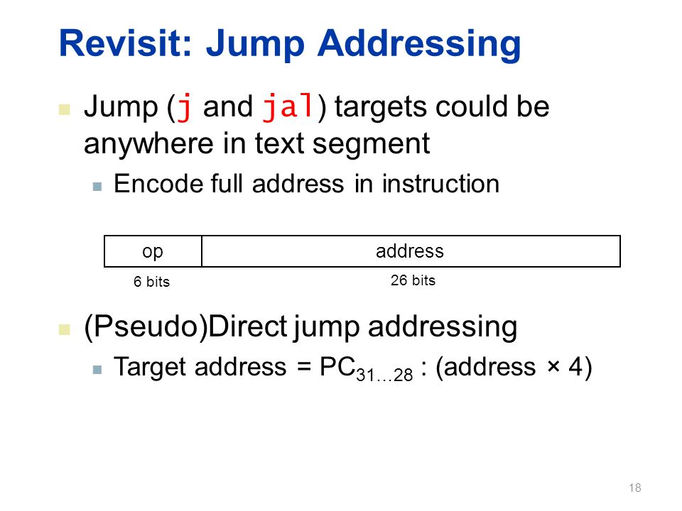 Revisit: Jump Addressing