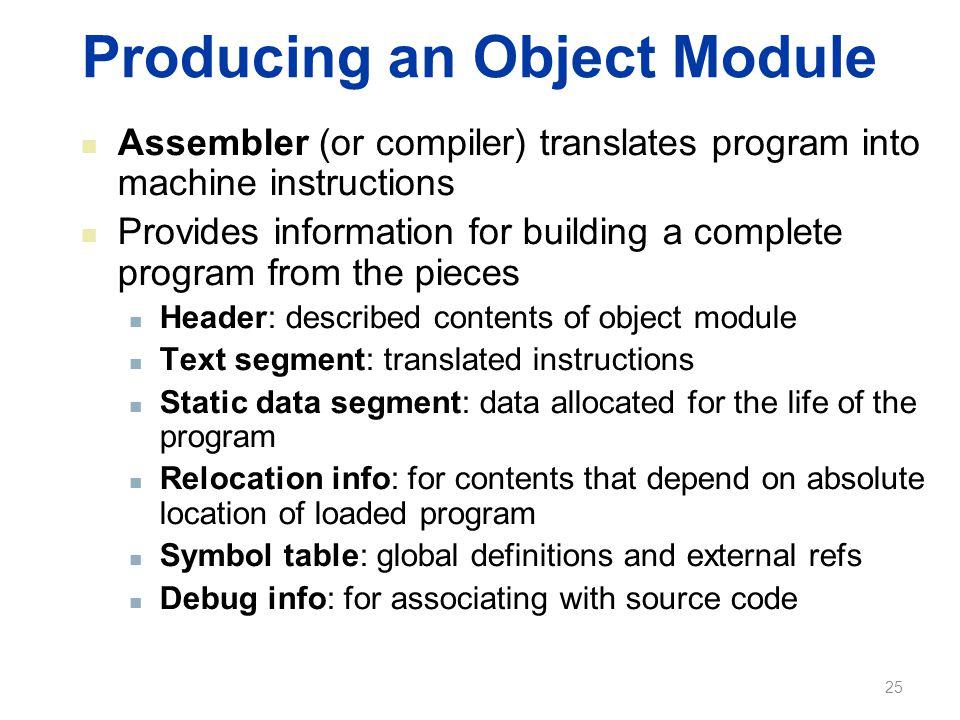 Producing an Object Module