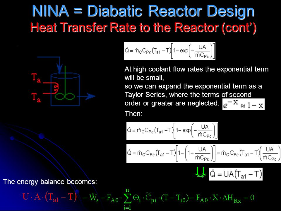 NINA = Diabatic Reactor Design Heat Transfer Rate to the Reactor (cont')