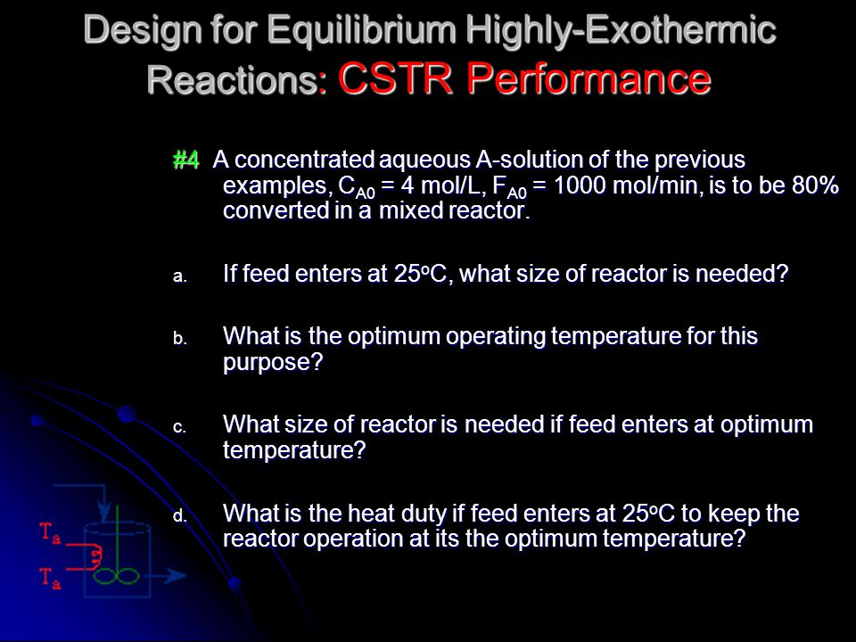 Design for Equilibrium Highly-Exothermic Reactions: CSTR Performance