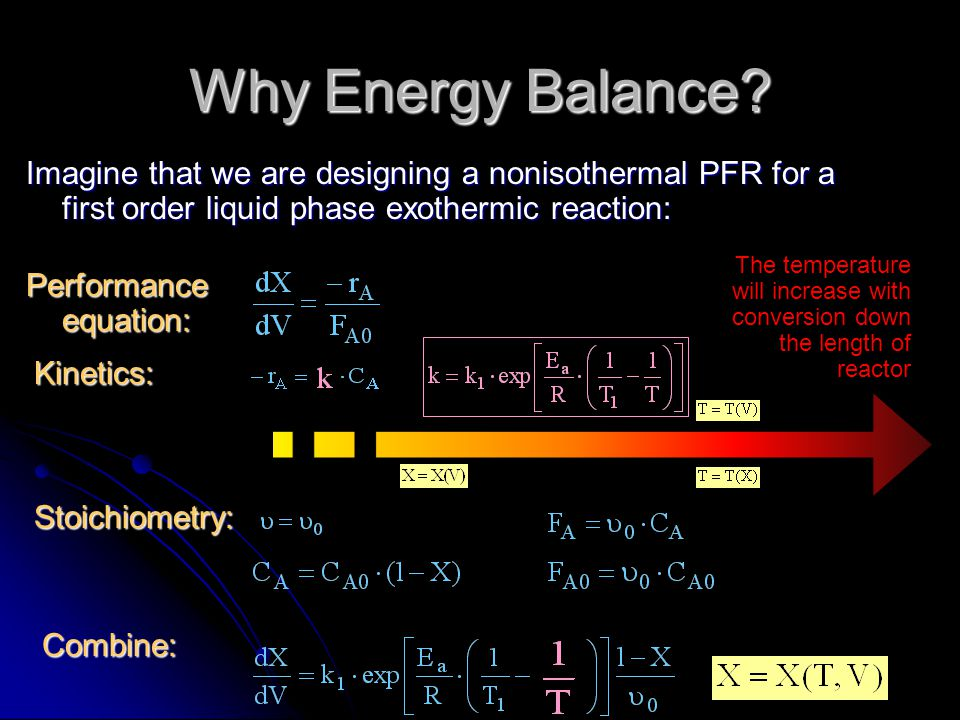 Why Energy Balance Imagine that we are designing a nonisothermal PFR for a first order liquid phase exothermic reaction: