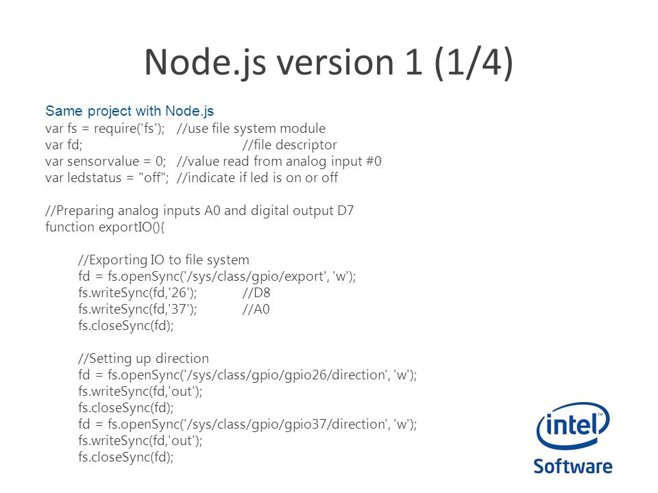 Node.js version 1 (1/4) Same project with Node.js