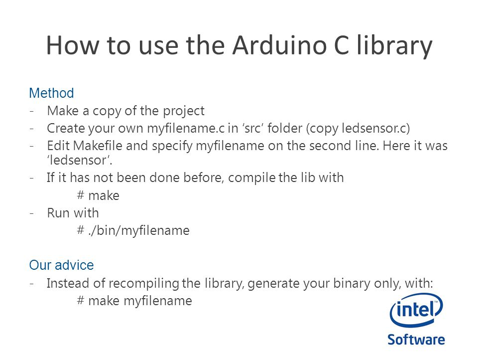 How to use the Arduino C library