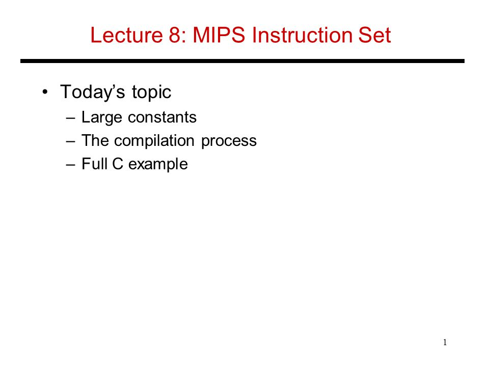Lecture 8 Mips Instruction Set Ppt Video Online Download