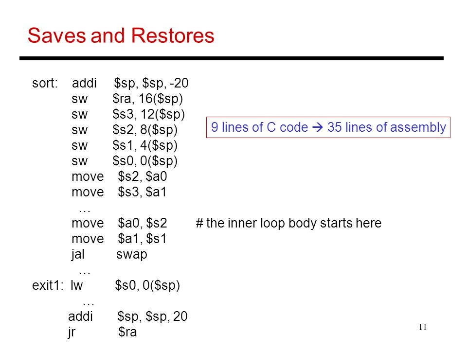 Saves and Restores sort: addi $sp, $sp, -20 sw $ra, 16($sp)