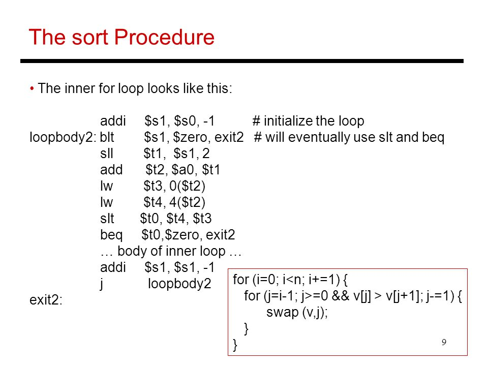 The sort Procedure The inner for loop looks like this: