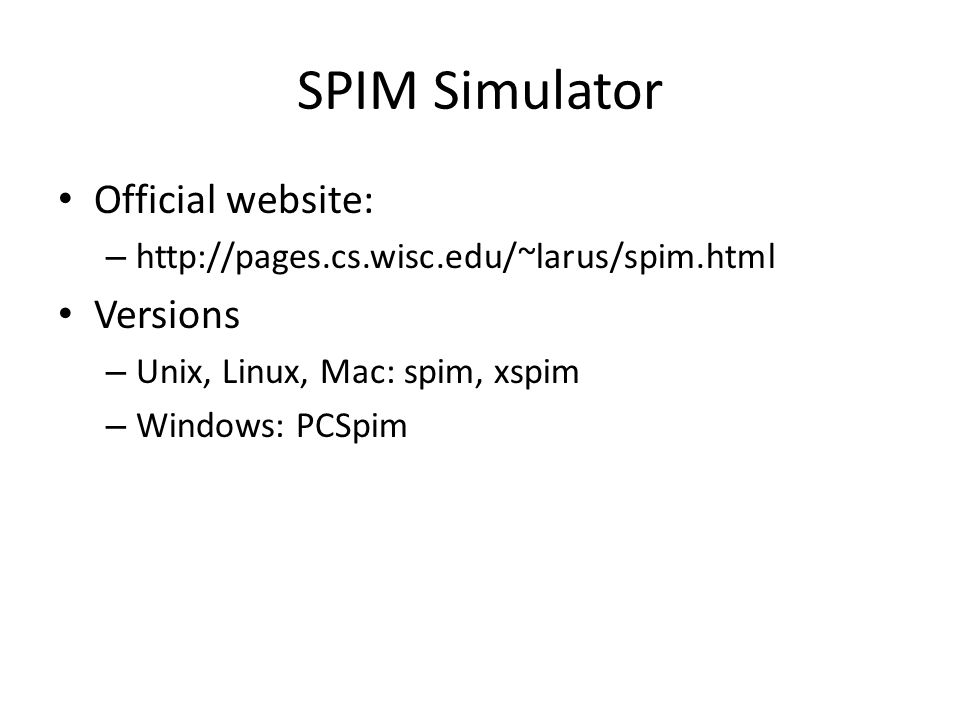 SPIM Simulator Official website: Versions