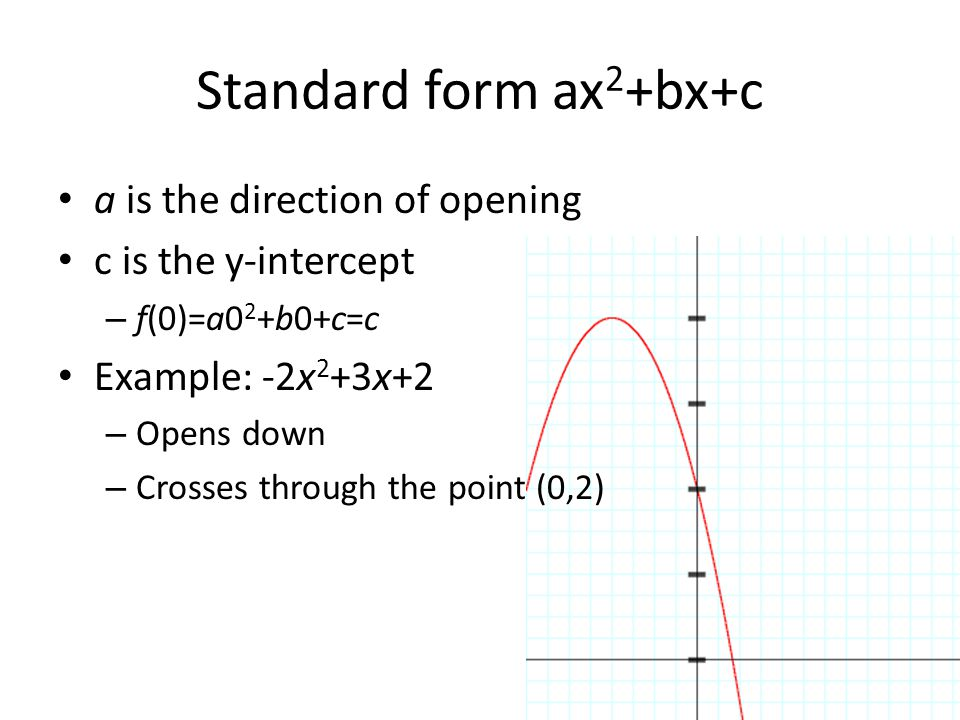 Standard form ax2+bx+c a is the direction of opening