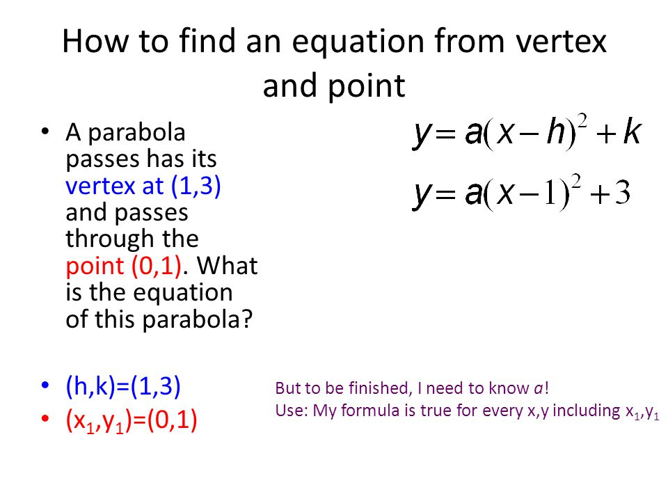 How to find an equation from vertex and point
