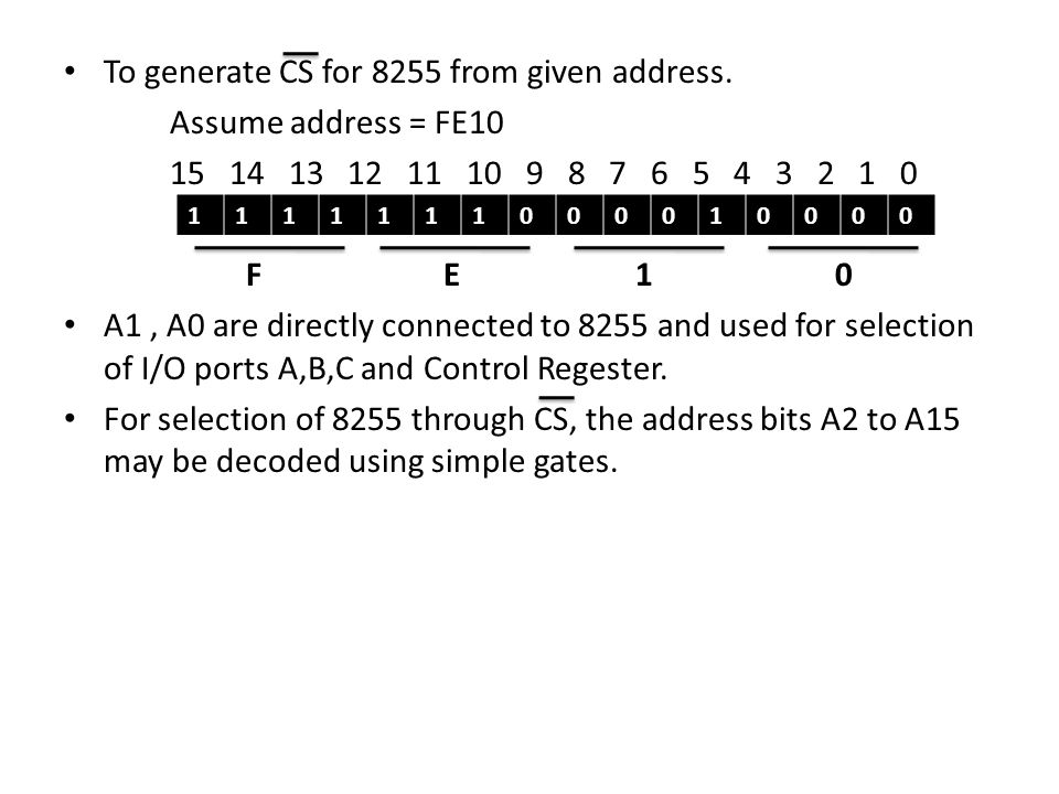 To generate CS for 8255 from given address. Assume address = FE10