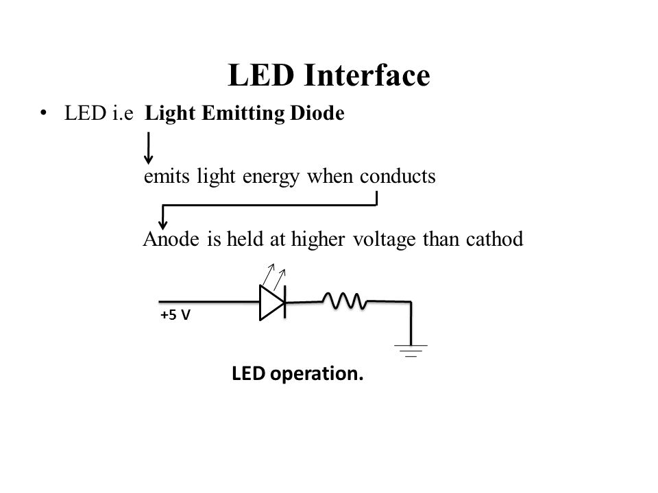 LED Interface LED i.e Light Emitting Diode