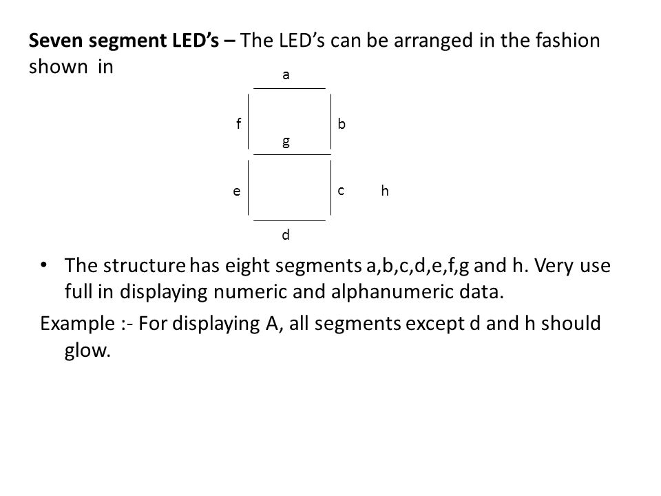 Example :- For displaying A, all segments except d and h should glow.