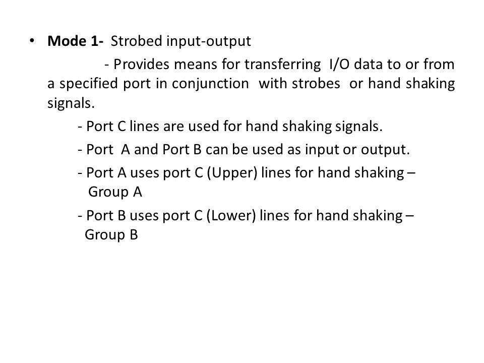 Mode 1- Strobed input-output