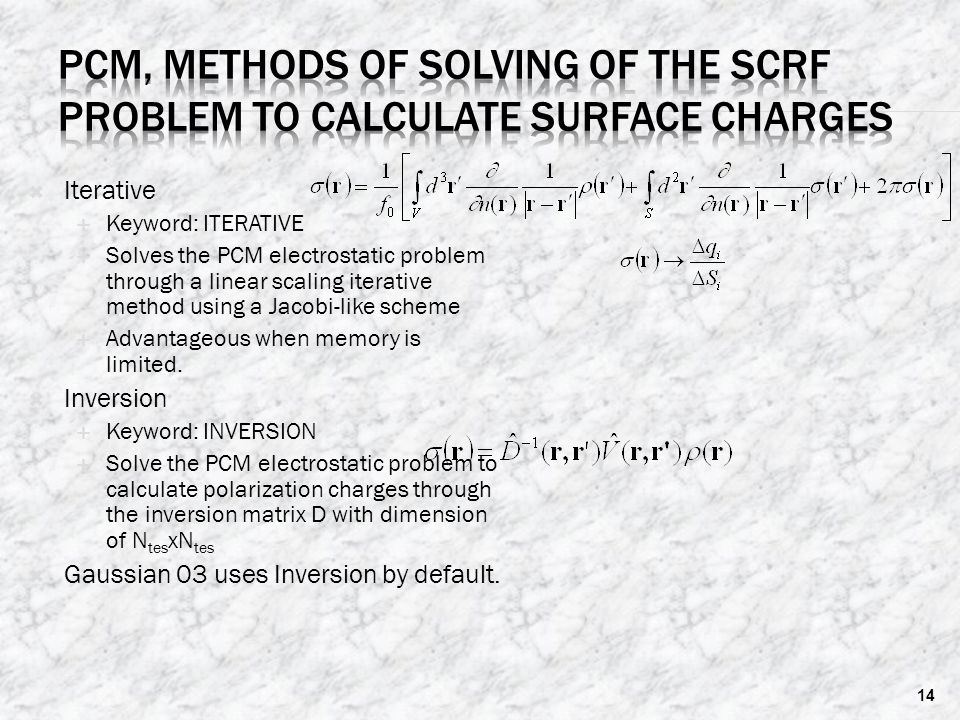 PCM, methods of solving of the SCRF problem to calculate surface charges