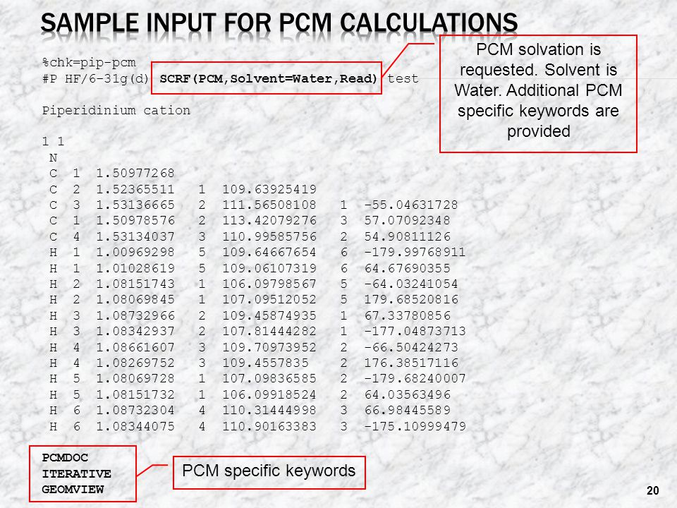 Sample input for PCM calculations