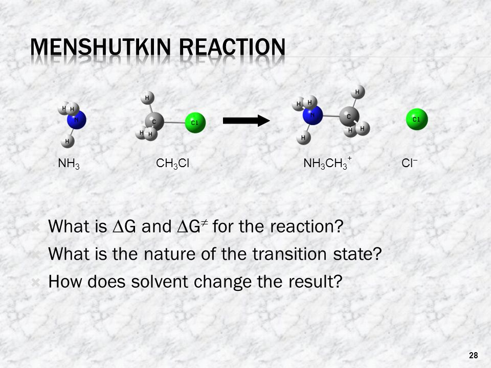 Menshutkin reaction What is DG and DG≠ for the reaction