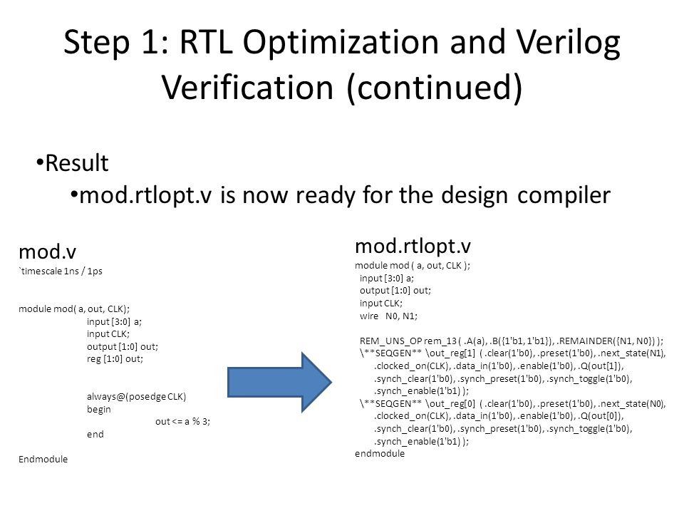Step 1: RTL Optimization and Verilog Verification (continued)
