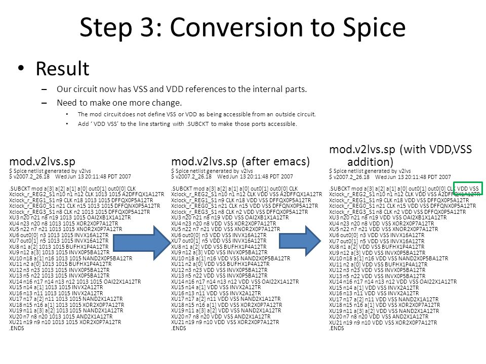 Step 3: Conversion to Spice