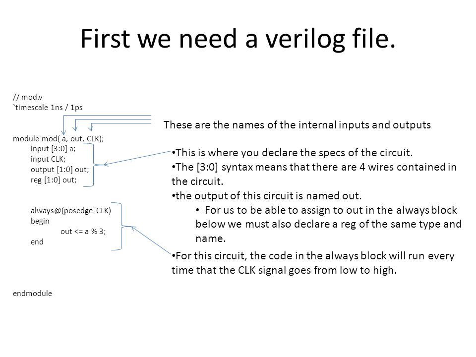First we need a verilog file.